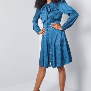 Satin Blue Dress With Pussy Bow From Modcloth